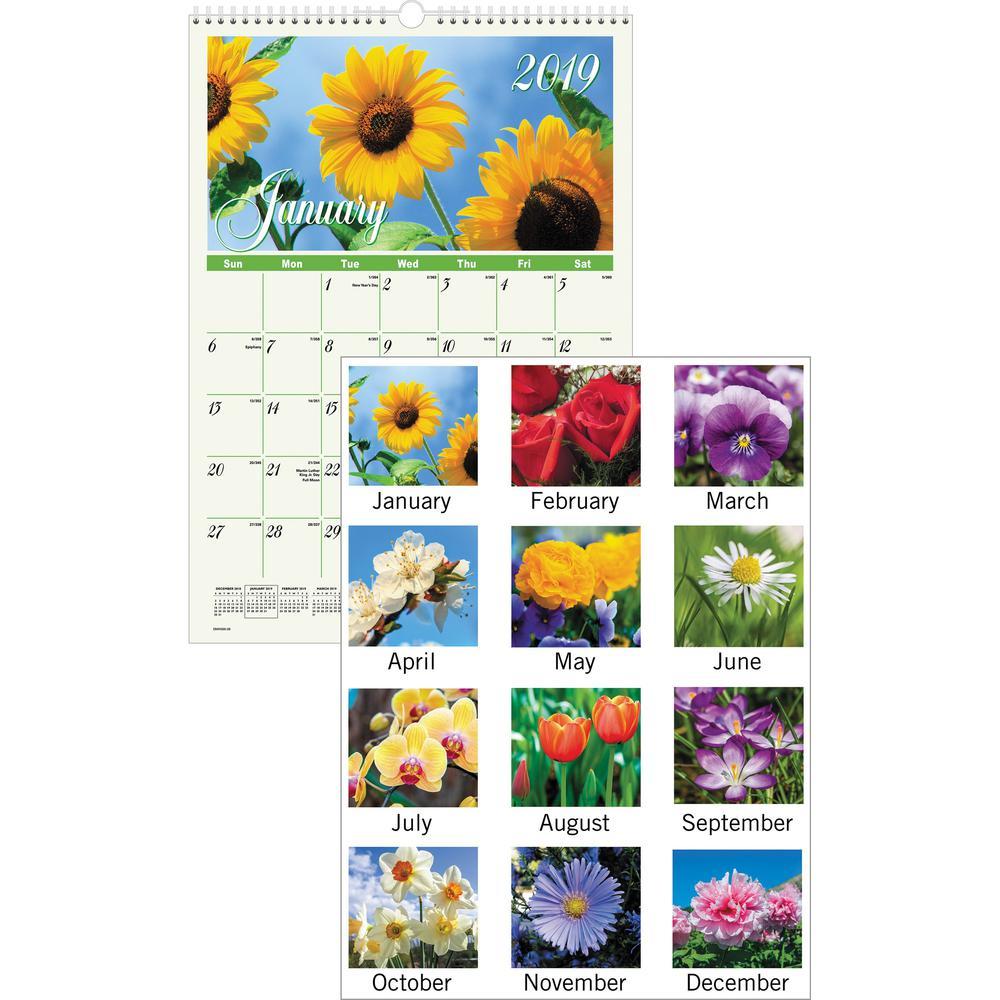 Secret Garden: At-A-Glance Flower Garden Monthly Wall Calendar