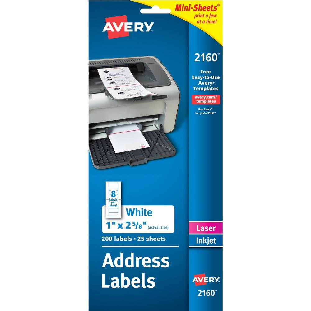 Avery® Mini-Sheets Address Label - Permanent Adhesive - Rectangle - Laser, Inkjet - White - Paper - 8 / Sheet - 25 Total Sheets - 200 Total Label(s) - 1. Picture 1