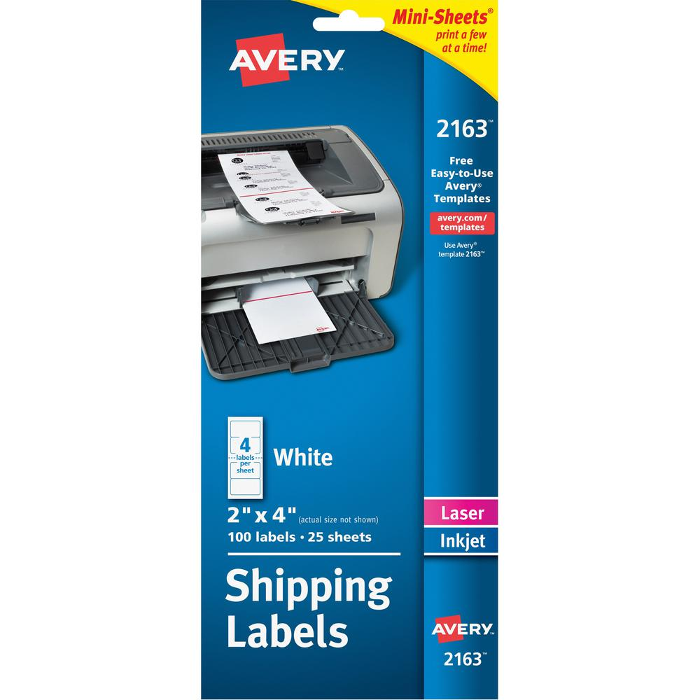 Avery® Mini-Sheets Shipping Label - Permanent Adhesive - Rectangle - Laser, Inkjet - White - Paper - 4 / Sheet - 25 Total Sheets - 100 Total Label(s) - 1. Picture 1