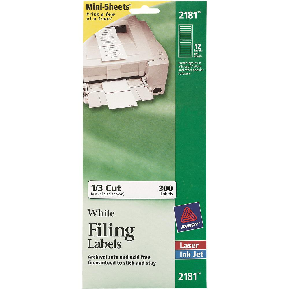Avery® File Folder Labels - Permanent Adhesive - Rectangle - Laser, Inkjet - White - Paper - 12 / Sheet - 25 Total Sheets - 300 Total Label(s) - 1. Picture 1