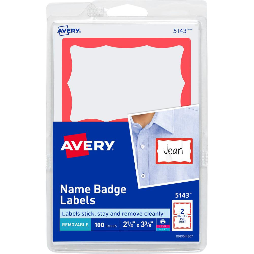 Avery® Border Print or Write Name Tags - Removable Adhesive - Rectangle - Laser, Inkjet - White, Red - Paper - 2 / Sheet - 50 Total Sheets - 100 Total Label(s) - 3. Picture 1