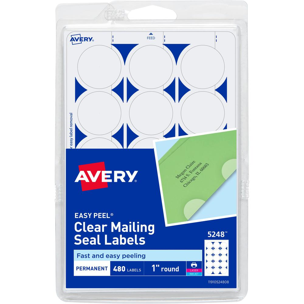 Avery® Laser, Inkjet Mailing Seal - Clear - Glossy - 480 / Pack - Laminated, Acid-free, Moisture Resistant, Water Resistant. Picture 1