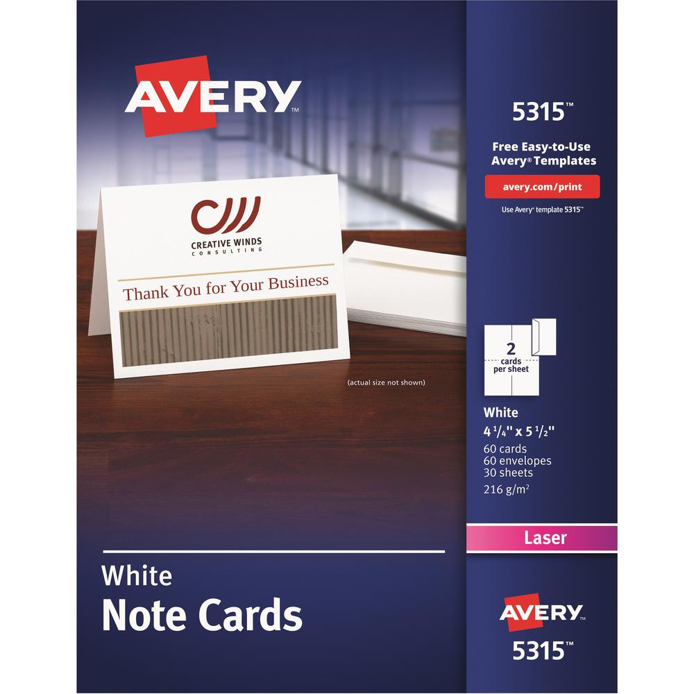 """Avery® Laser Greeting Card - White - 97 Brightness - 4 1/4"""" x 5 1/2"""" - FSC Mix - Rounded Corner. Picture 1"""