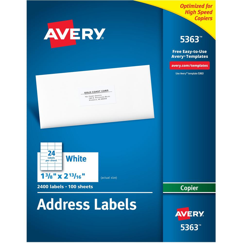 Avery® Copier Address Labels - Permanent Adhesive - Rectangle - White - Paper - 24 / Sheet - 100 Total Sheets - 2400 Total Label(s) - 5. Picture 1