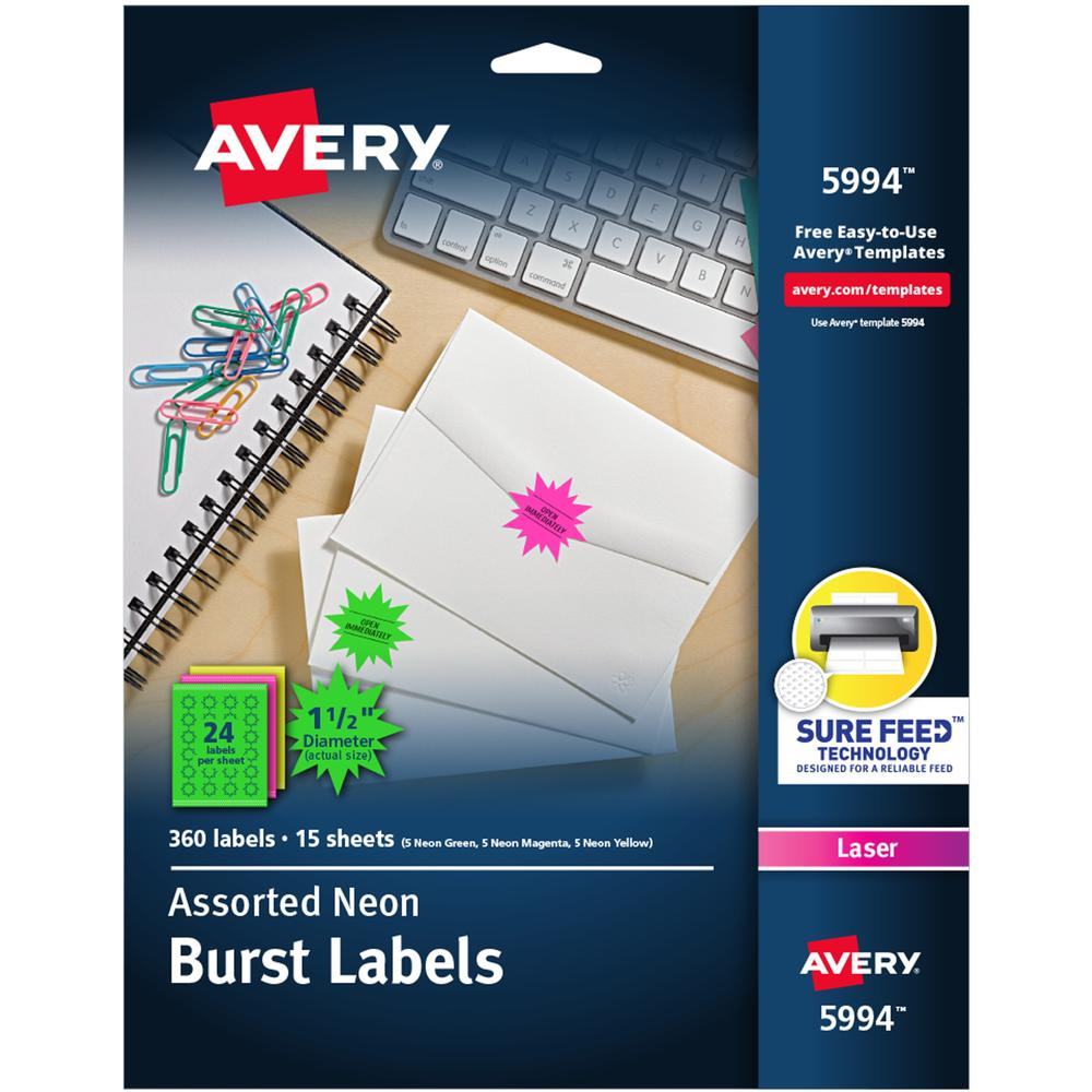 Avery® Neon Burst Labels - Permanent Adhesive - Burst - Laser - Neon Magenta, Neon Green, Neon Yellow - Paper - 24 / Sheet - 15 Total Sheets - 360 Total Label(s) - 360 / Pack. Picture 1