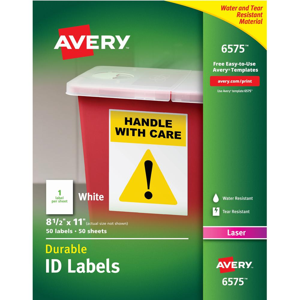 Avery® TrueBlock ID Label - Permanent Adhesive - Rectangle - Laser - White - Film - 1 / Sheet - 50 Total Sheets - 50 Total Label(s) - 5. Picture 1