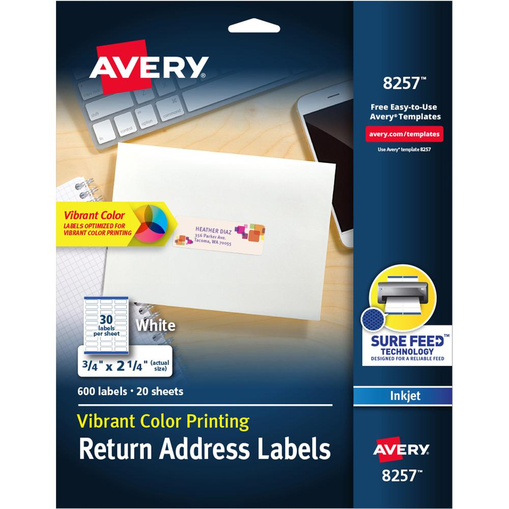 Avery® Color Printing Labels - Permanent Adhesive - Rectangle - Inkjet - White - Paper - 30 / Sheet - 20 Total Sheets - 600 Total Label(s) - 600 / Pack. Picture 1