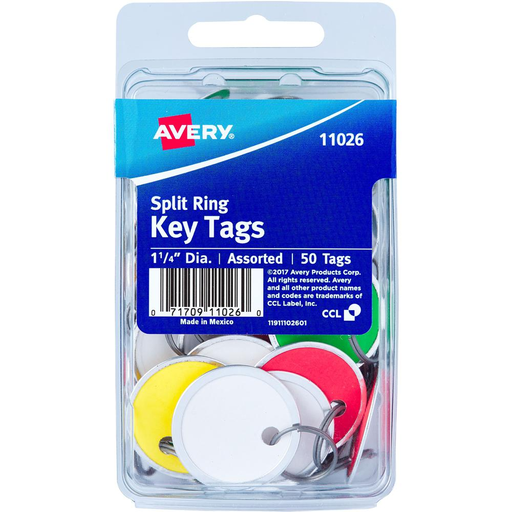 """Avery(R) Metal Rim Key Tags, 1-1/4"""" Diameter Tag, Metal Split Ring, Assorted Colors, 50 Tags (11026) - Metal - 50 / Pack - Assorted. Picture 1"""