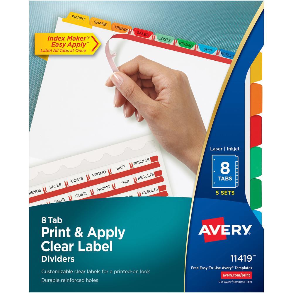 "Avery® Index Maker Index Divider - 40 x Divider(s) - 8 - 8 Tab(s)/Set - 8.5"" Divider Width x 11"" Divider Length - 3 Hole Punched - White Paper Divider - Multicolor Paper Tab(s) - 5 / Set. Picture 1"