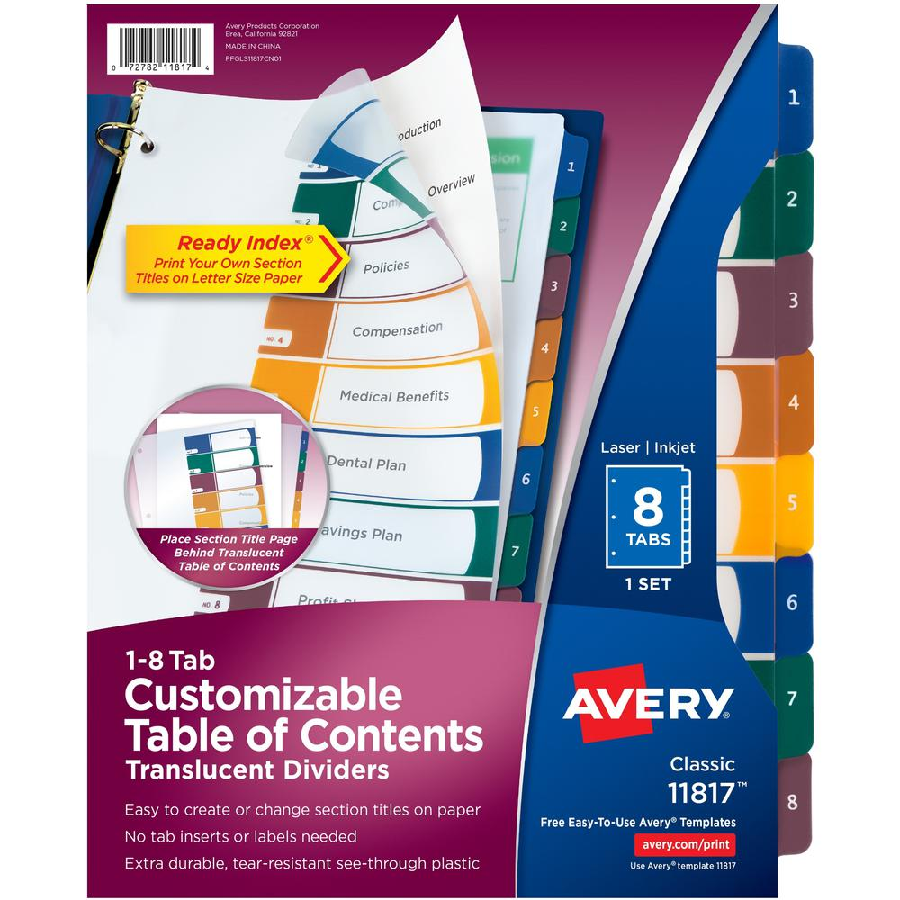 """Avery® Ready Index Customizable TOC Binder Dividers - 8 x Divider(s) - 8 Tab(s) - 1-8, Table of Contents - 8 Tab(s)/Set - 8.5"""" Divider Width x 11"""" Divider Length - 3 Hole Punched - Clear Plastic D. Picture 1"""