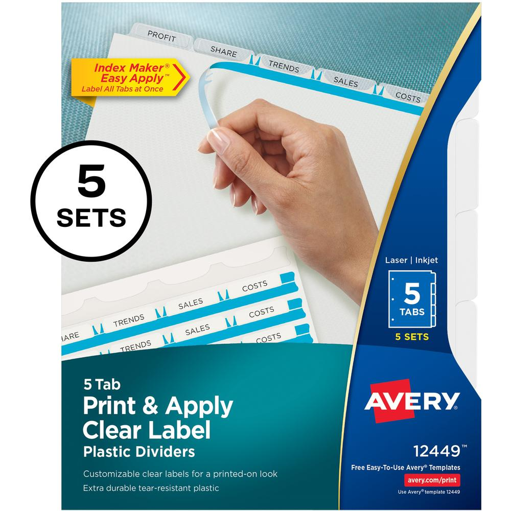 """Avery® Index Maker Index Divider - 25 x Divider(s) - Print-on Tab(s) - 5 - 5 Tab(s)/Set - 8.5"""" Divider Width x 11"""" Divider Length - 3 Hole Punched - Translucent Plastic Divider - Frosted Clear Pla. Picture 1"""