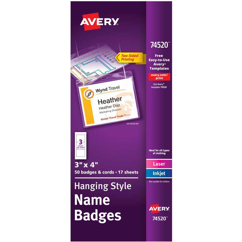 """Avery® Laser, Inkjet Laser/Inkjet Badge Insert - White - 4"""" x 3"""" - 50 / Box - Printable. Picture 1"""