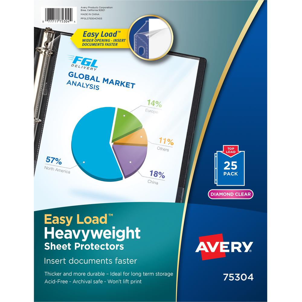 """Avery® Heavyweight Sheet Protectors -Acid-free, Archival-safe, Top-loading - For Letter 8 1/2"""" x 11"""" Sheet - Top Loading - Diamond Clear - Polypropylene - 25 / Pack. Picture 1"""