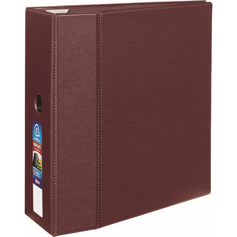 """Avery® 5"""" Heavy-Duty Binder - 5"""" Binder Capacity - Letter - 8 1/2"""" x 11"""" Sheet Size - 1050 Sheet Capacity - Ring Fastener(s) - 4 Internal Pocket(s) - Polypropylene - Maroon - Recycled - Pocket, He. Picture 1"""