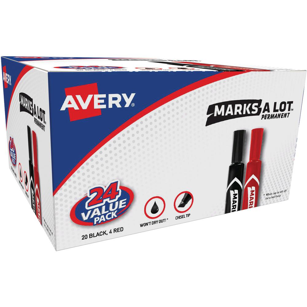 Avery® Permanent Markers - 4.7625 mm Marker Point Size - Chisel Marker Point Style - Red, Black - 24 / Box. Picture 1