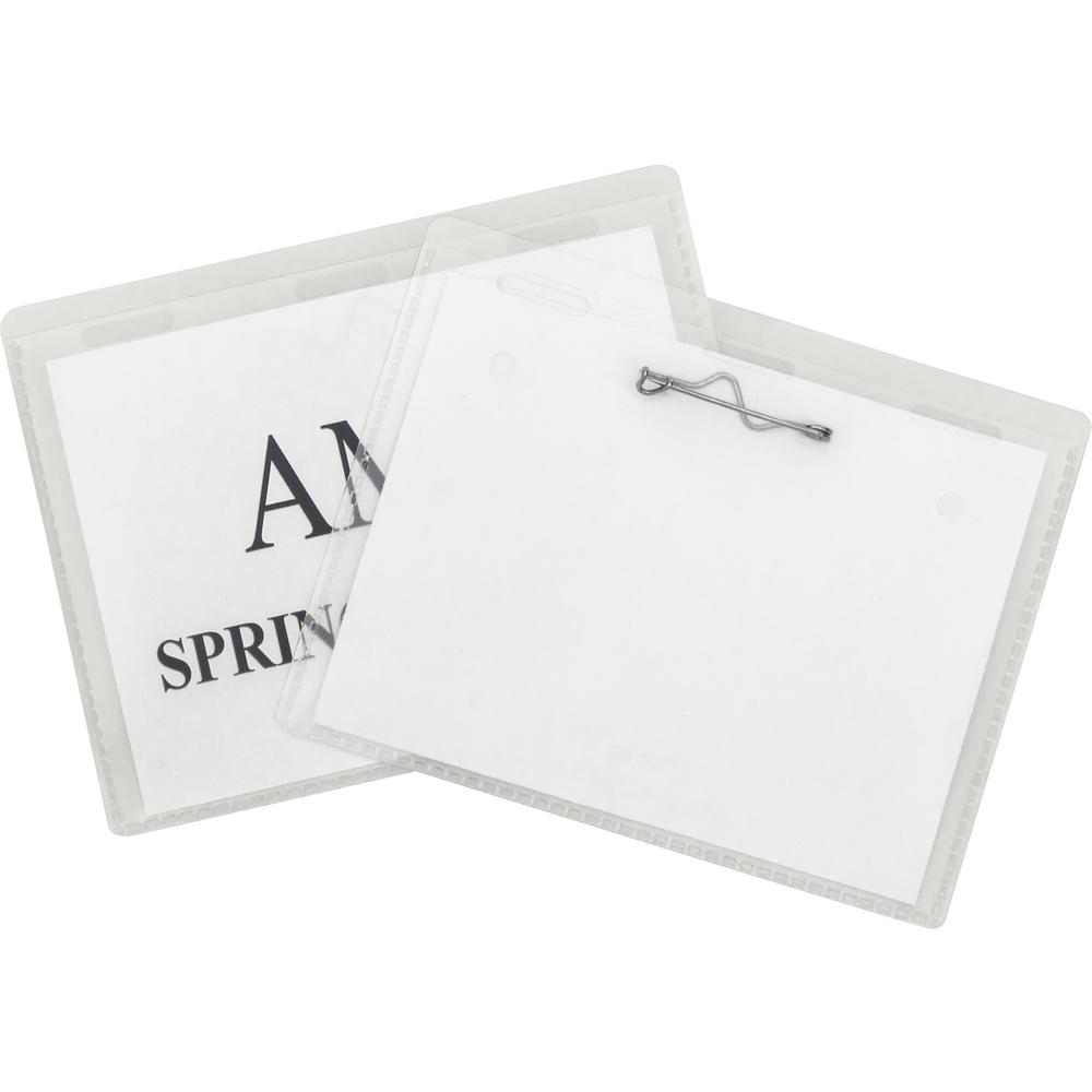 C-Line Pin Style Name Badge Holder Kit - Folded Holders with Inserts, 3-1/2 x 2-1/4, 100/BX, 94223. Picture 1