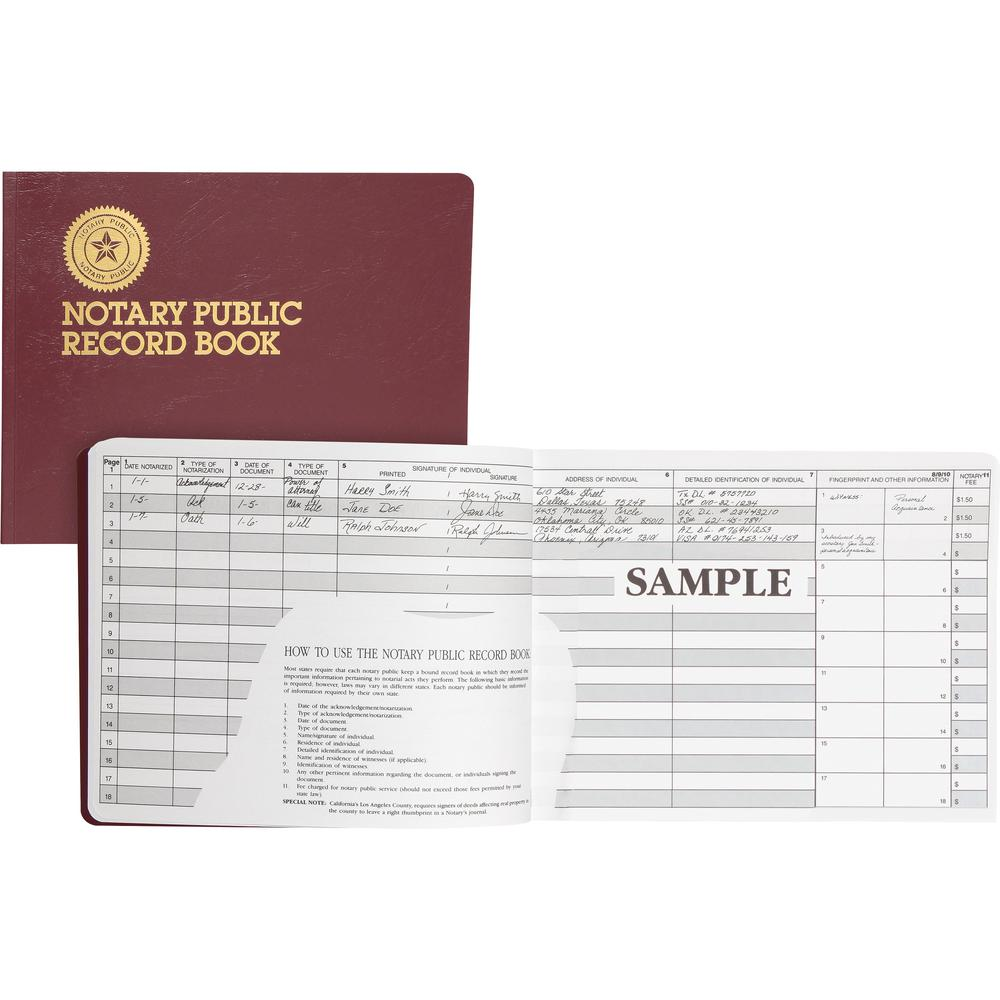 """Dome Notary Public Book - 64 Sheet(s) - Thread Sewn - 10 1/2"""" x 8 1/4"""" Sheet Size - 10 Columns per Sheet - Burgundy - White Sheet(s) - Maroon Cover - Recycled - 1 Each. Picture 1"""