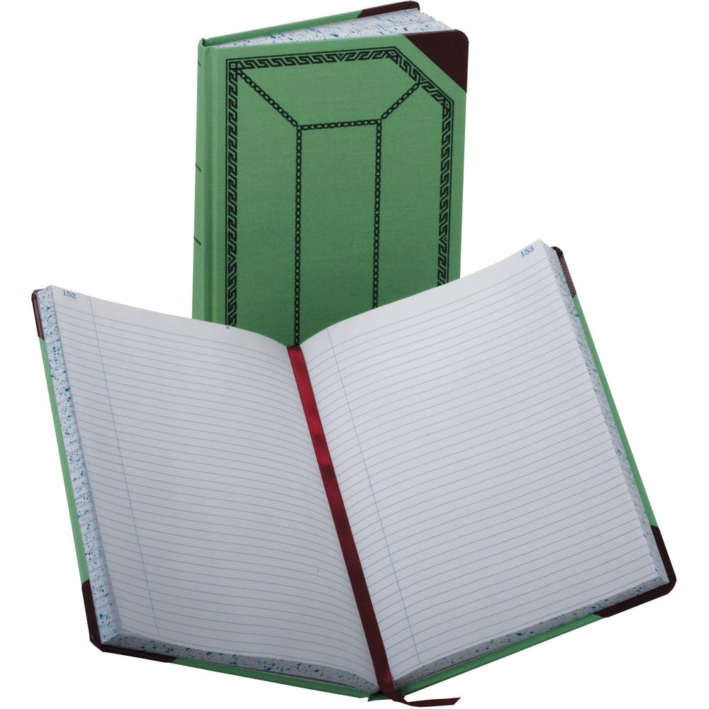"""Boorum & Pease Boorum 67-1/8 Series Record-Ruled Account Books - 300 Sheet(s) - 7 5/8"""" x 12 1/2"""" Sheet Size - Green - White Sheet(s) - Blue, Red Print Color - Red, Green Cover - 1 Each. Picture 1"""