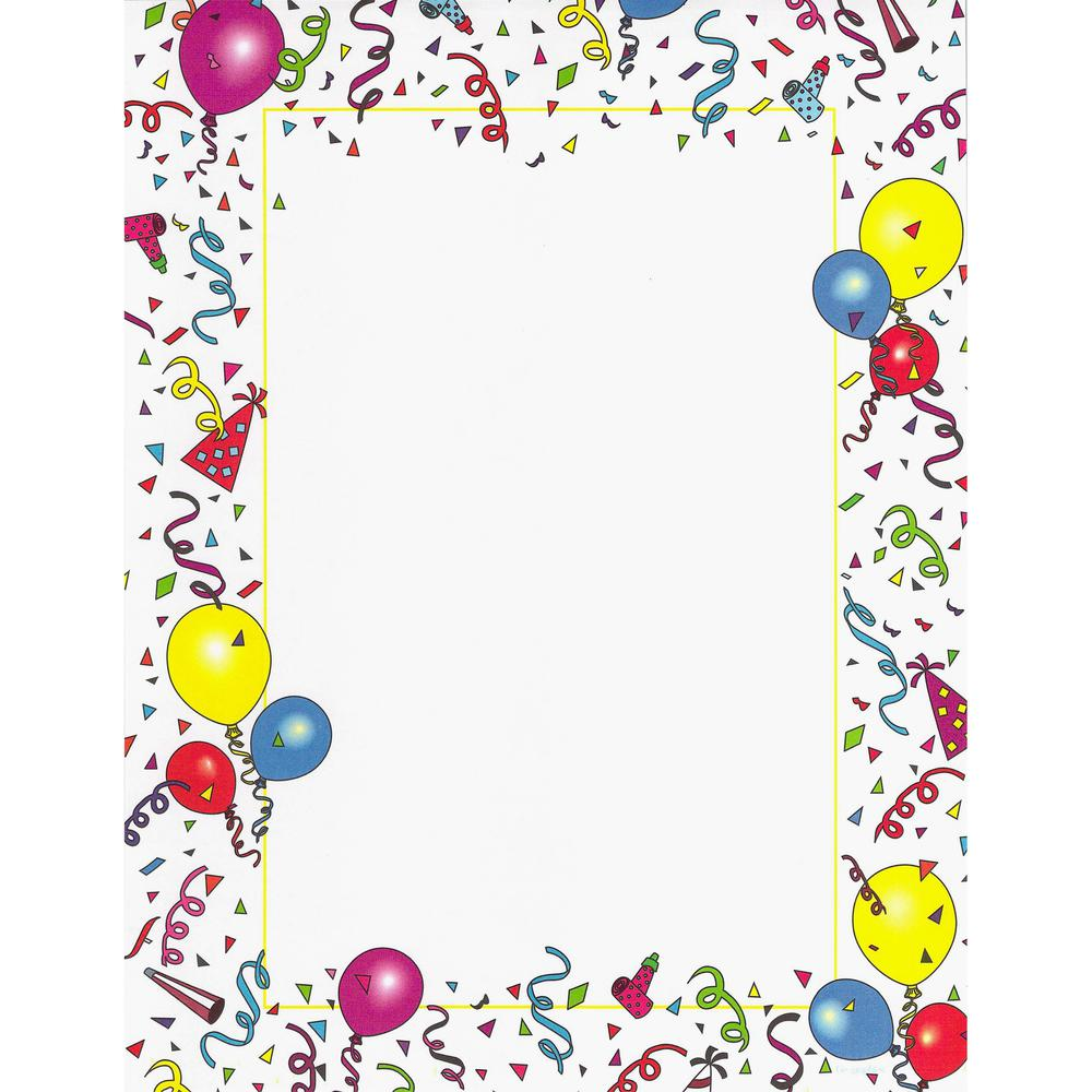 """Geographics GeoParty Image Stationery - Letter - 8 1/2"""" x 11"""" - 24 lb Basis Weight - 100 / Pack. Picture 1"""