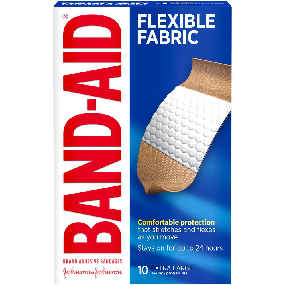 "Band-Aid Flex Extra Large Bandages - 1.25"" x 4"" - 10/Box - Tan. Picture 1"
