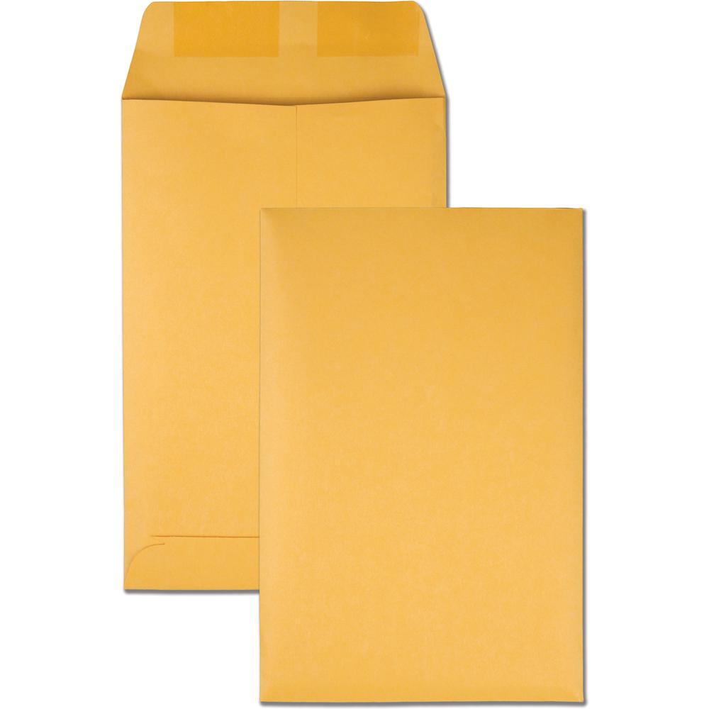 "Quality Park Kraft Catalog Envelopes - Catalog - #1 - 6"" Width x 9"" Length - 28 lb - Gummed - Kraft - 100 / Box - Kraft. Picture 1"