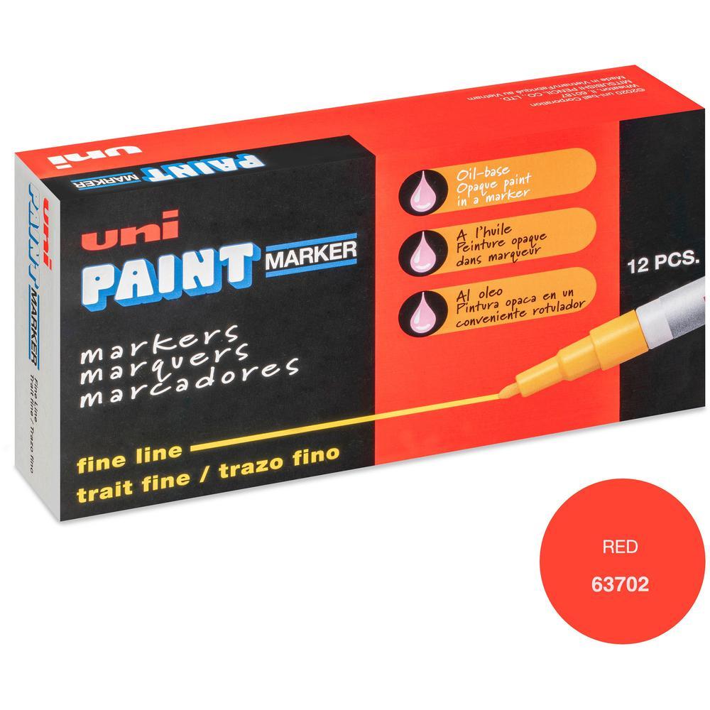 uni-ball Uni-Paint PX-21 Oil-Based Fine Point Marker - Fine Marker Point - Red Oil Based Ink - 1 Each. Picture 1
