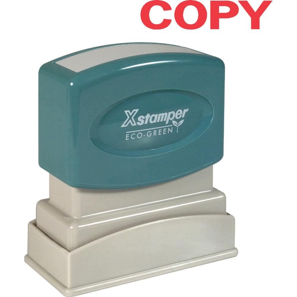 """Xstamper COPY Title Stamps - Message Stamp - """"COPY"""" - 0.50"""" Impression Width x 1.62"""" Impression Length - 100000 Impression(s) - Red - Recycled - 1 Each. Picture 1"""