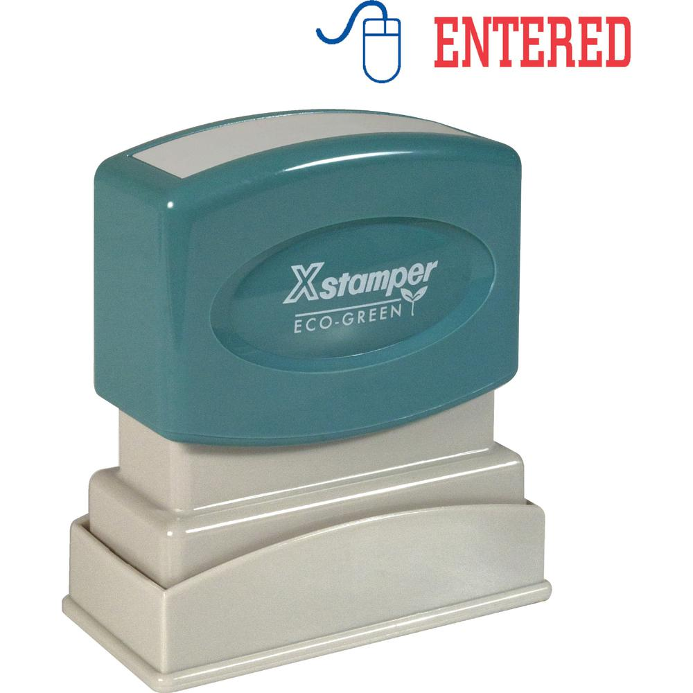 """Xstamper Red/Blue ENTERED Title Stamp - Message Stamp - """"ENTERED"""" - 0.50"""" Impression Width x 1.62"""" Impression Length - 100000 Impression(s) - Red, Blue - Polymer - Recycled - 1 Each. Picture 1"""