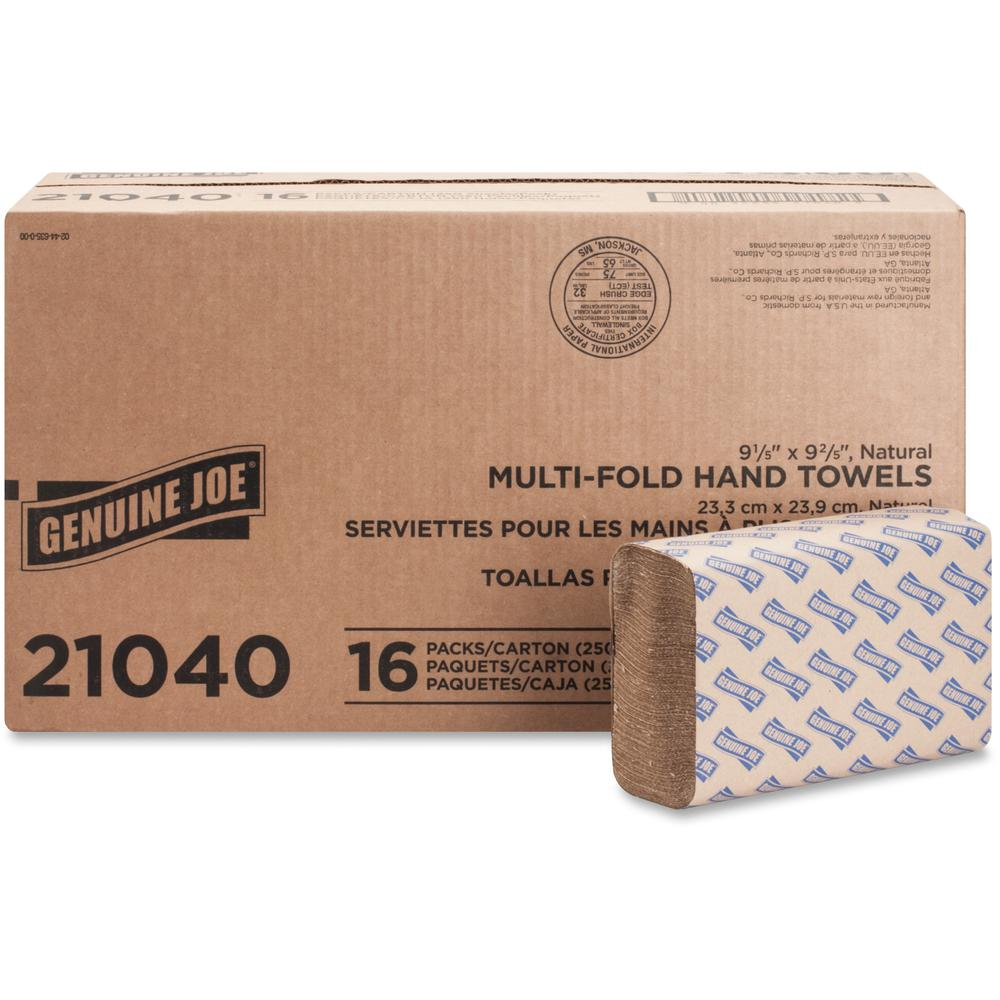 """Genuine Joe Multifold Natural Towels - 1 Ply - 9.25"""" x 9.40"""" - Natural - Chlorine-free - For Restroom, Public Facilities - 250 Per Pack - 4000 / Carton. Picture 1"""