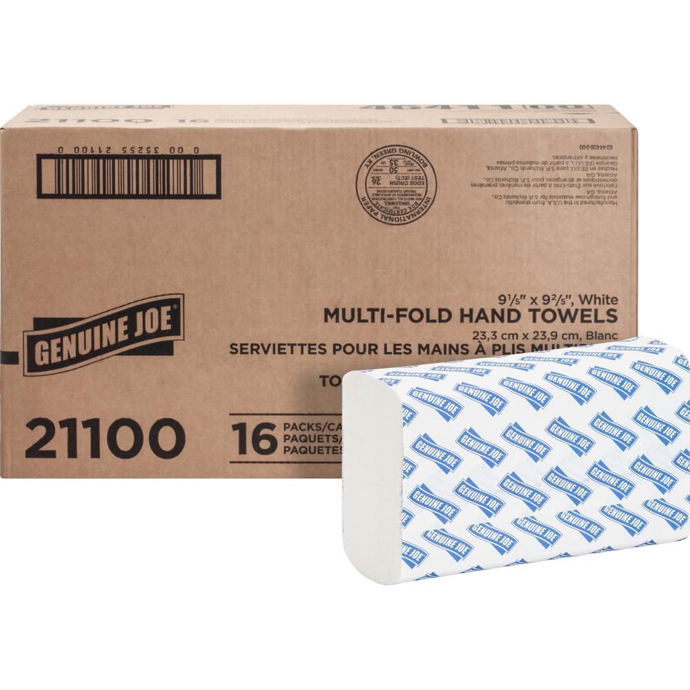 """Genuine Joe Multifold Towels - 1 Ply - 9.20"""" x 9.40"""" - White - Interfolded, Embossed, Anti-contamination, Chlorine-free - For Restroom, Public Facilities - 250 Quantity Per Bundle - 4000 / Carton. Picture 1"""