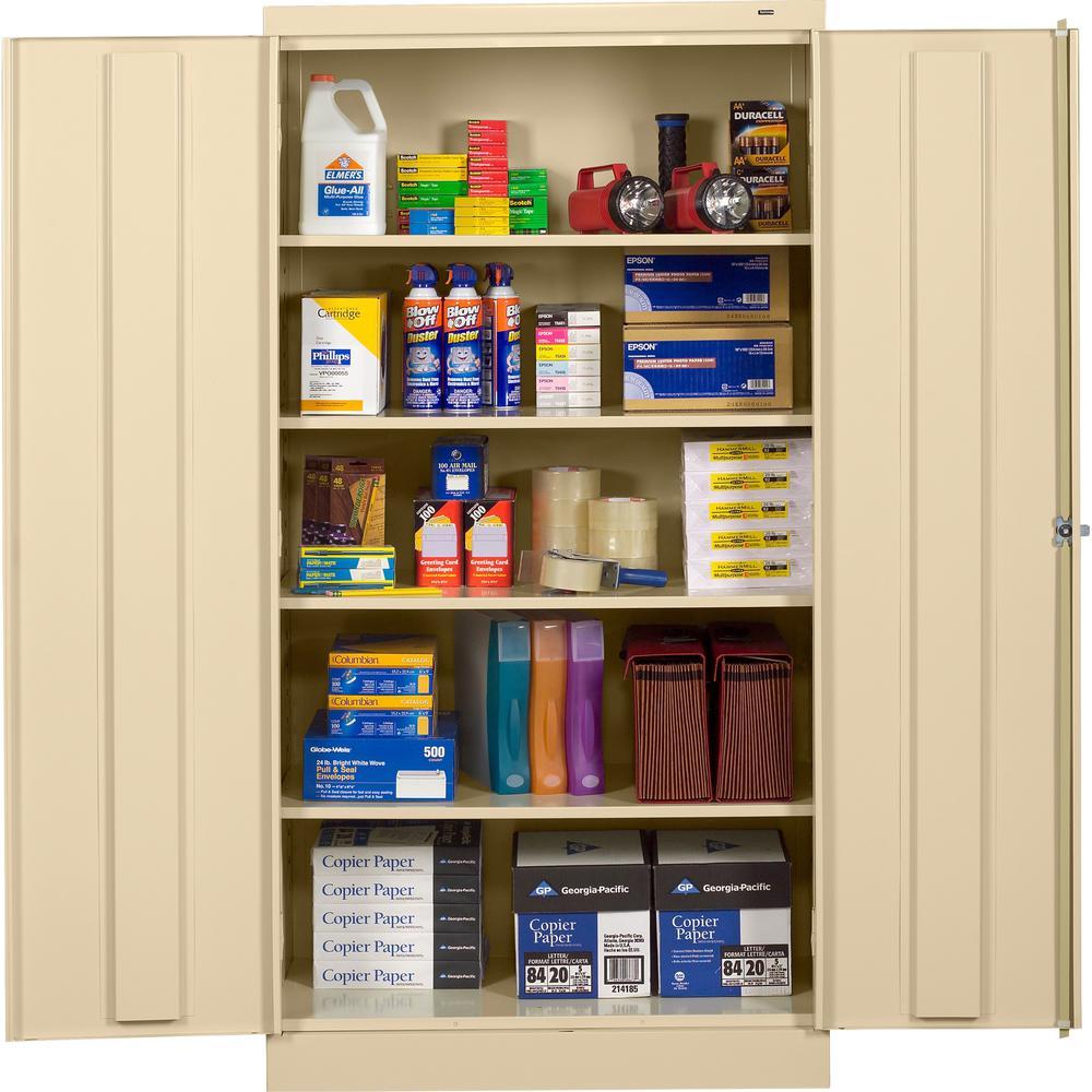 "Tennsco Full-Height Standard Storage Cabinet - 36"" x 18"" x 72"" - 2 x Door(s) - Security Lock, Welded, Reinforced, Hinged Door - Putty - Chrome - Recycled"