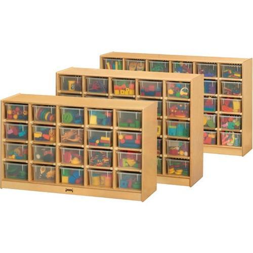 "Jonti-Craft 25 Cubbie Mobile Storage - 35.5"" Height x 48"" Width x 15"" Depth - Baltic - Acrylic, Rubber - 1Each. Picture 1"