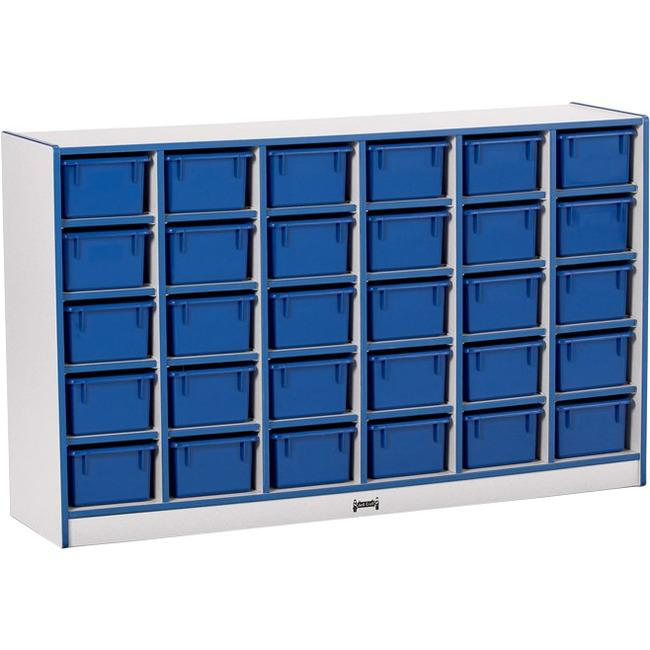 "Jonti-Craft Rainbow Accents Toddler Single Storage - 30 Compartment(s) - 35.5"" Height x 57.5"" Width x 15"" Depth - Blue - Rubber - 1Each. Picture 1"