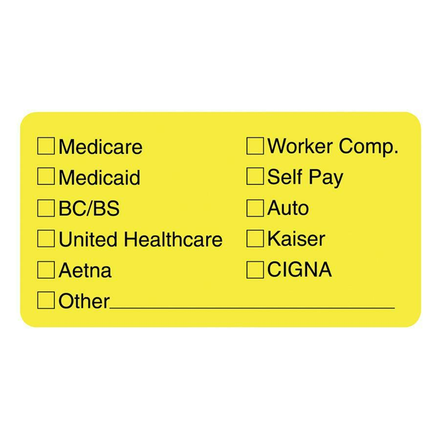 """Tabbies Medical Office Insurance Check Labels - 1 3/4"""" x 3 1/4"""" Length - Yellow - 250 / Roll. Picture 1"""