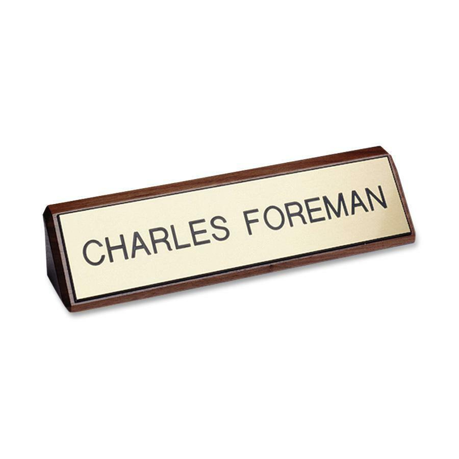 """Xstamper Xecutives Plastic Name Plates On Wood - 1 Each - 8"""" Width x 2"""" Height - Plastic, Wood. Picture 1"""