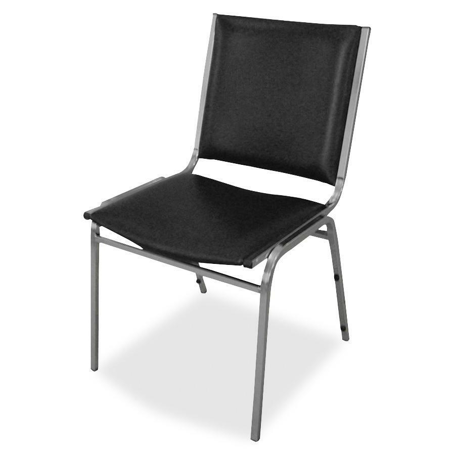 Lorell Padded Armless Stacking Chair Vinyl Black Seat
