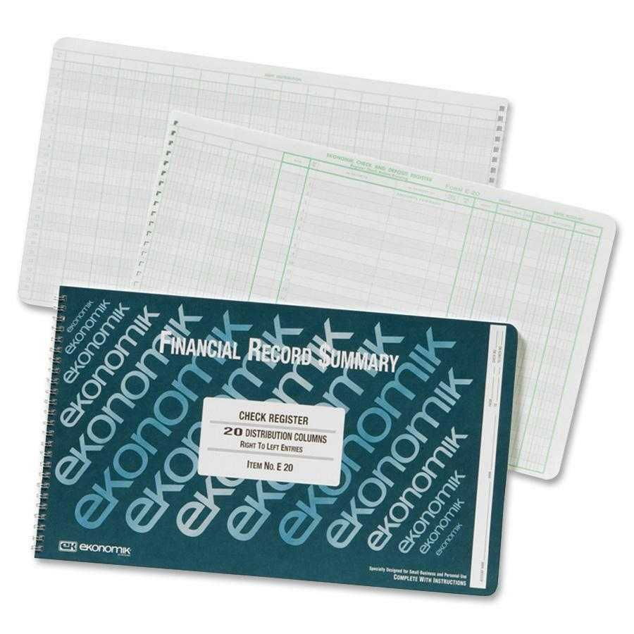 """Ekonomik Financial Record Summary Check Register - 40 Sheet(s) - Wire Bound - 14 3/4"""" x 8 3/4"""" Sheet Size - 20 Columns per Sheet - White Sheet(s) - Green Print Color - Recycled - 1 Each. Picture 1"""