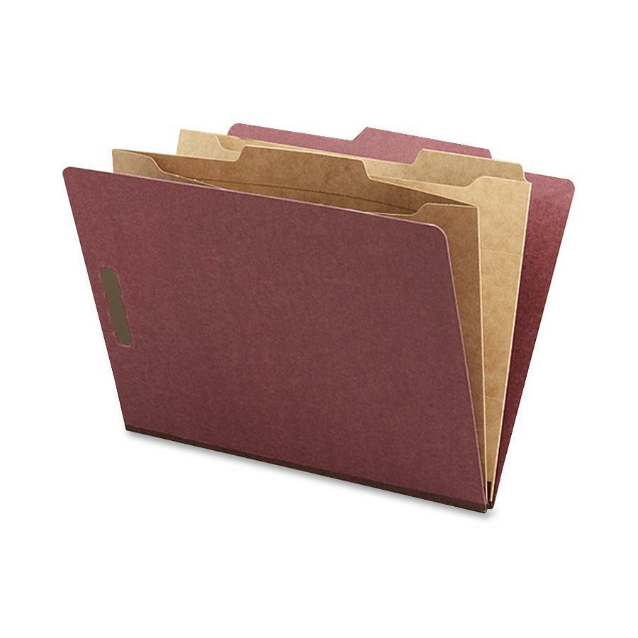 "Nature Saver Pocket Divider Classification Folders - Letter - 8 1/2"" x 11"" Sheet Size - 2"" Expansion - 4 Fastener(s) - 2"" Fastener Capacity for Folder, 1"" Fastener Capacity for Divider - 2 Pocket(s) -. Picture 1"