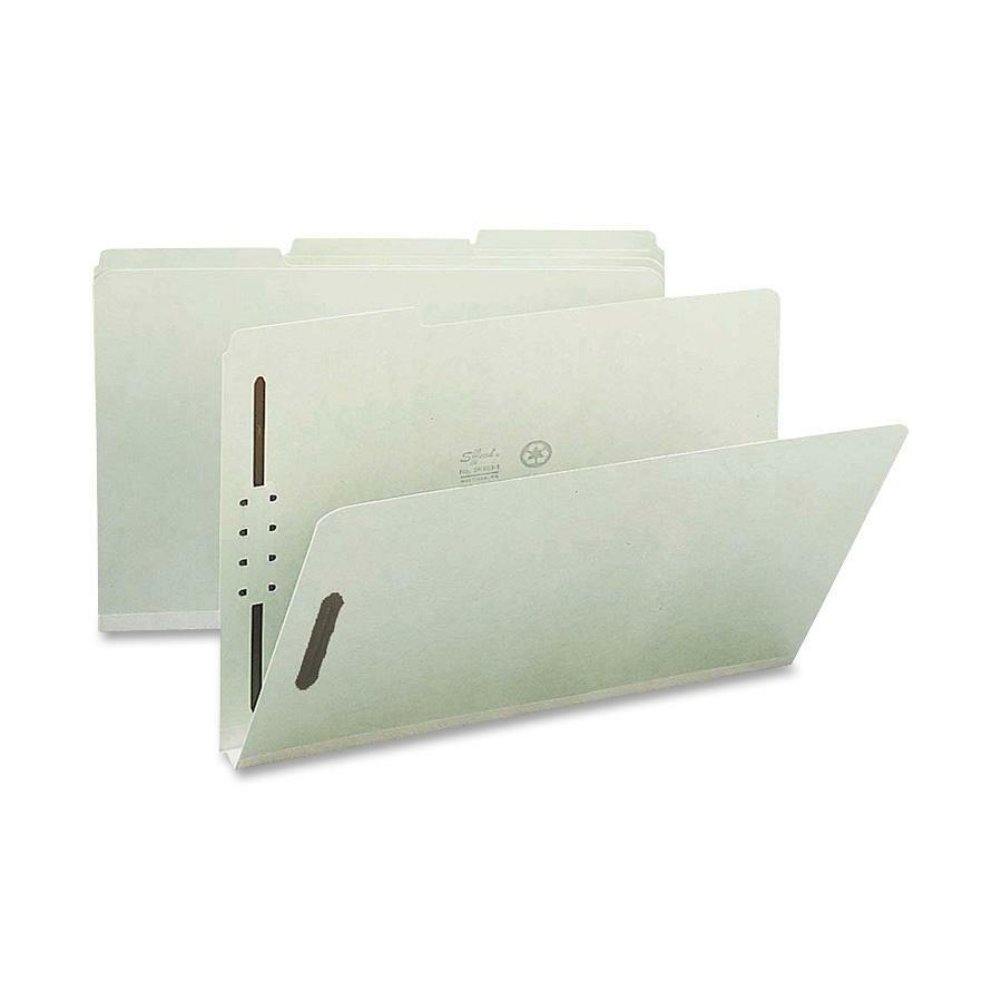"""Nature Saver 1/3-cut Pressboard Fastener Folders - Legal - 8 1/2"""" x 14"""" Sheet Size - 1"""" Expansion - 2 Fastener(s) - 2"""" Fastener Capacity for Folder - 1/3 Tab Cut - Top Tab Location - Assorted Position. Picture 1"""