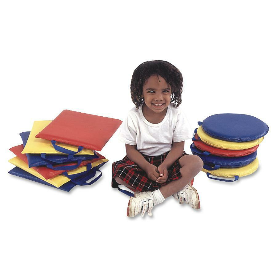 "Children's Factory Soft Foam Square Sit Upons Set - 12"" x 12"" - Foam - Square - Handle - Blue, Yellow, Red - 6 / Set. Picture 1"