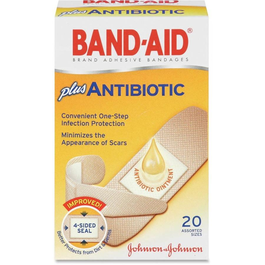 Band-Aid Antibiotic Bandage - 20/Box - Beige. Picture 1