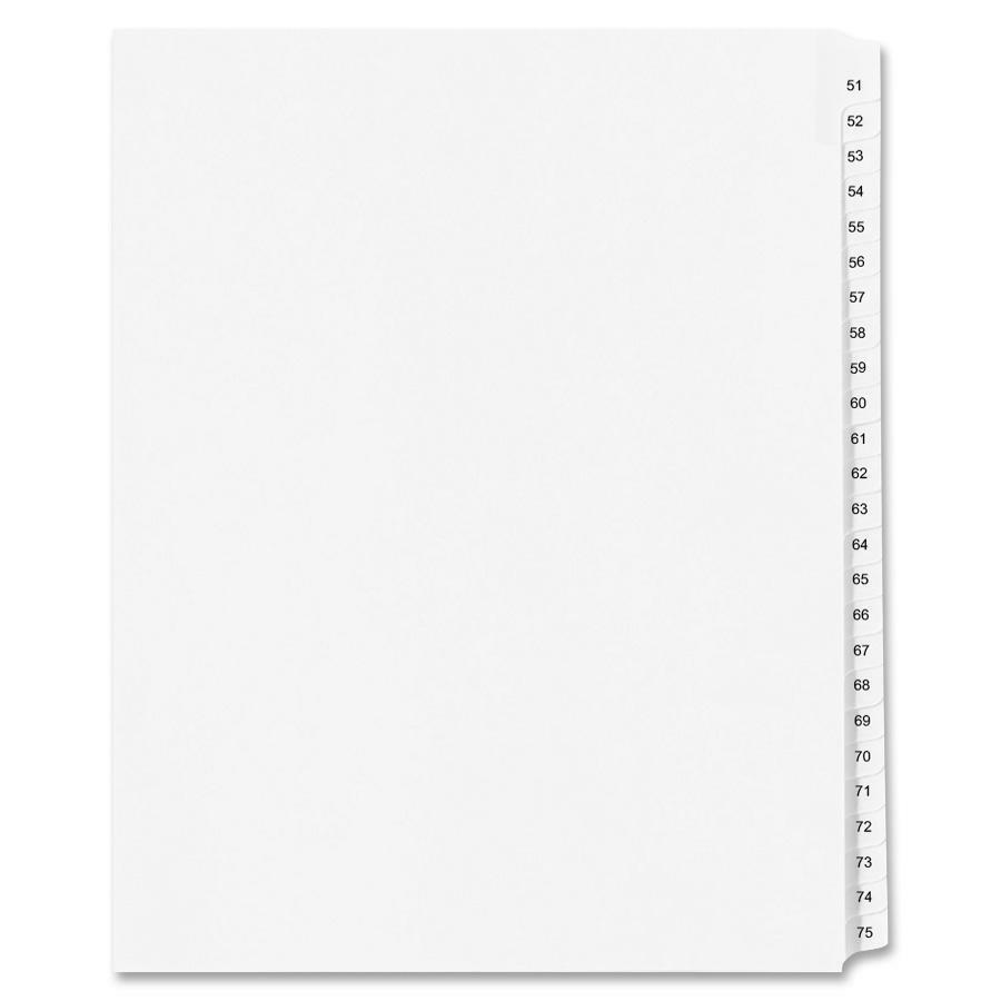 "Avery® Standard Collated Legal Exhibit Divider Sets - Avery Style - 25 x Divider(s) - Printed Tab(s) - Digit - 51-75 - 25 Tab(s)/Set - 8.5"" Divider Width x 14"" Divider Length - Legal - White Paper. Picture 1"