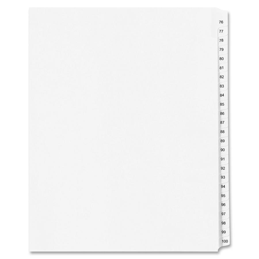 """Avery® Standard Collated Legal Exhibit Divider Sets - Avery Style - 25 x Divider(s) - Printed Tab(s) - Digit - 76-100 - 25 Tab(s)/Set - 8.5"""" Divider Width x 14"""" Divider Length - Legal - White Pape. Picture 1"""
