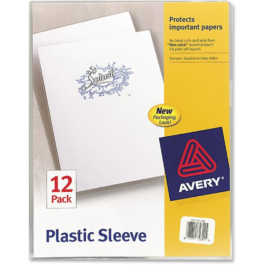 """Avery® Letter File Sleeve - 8 1/2"""" x 11"""" - 100 Sheet Capacity - Polypropylene - Clear - 12 / Pack. Picture 1"""