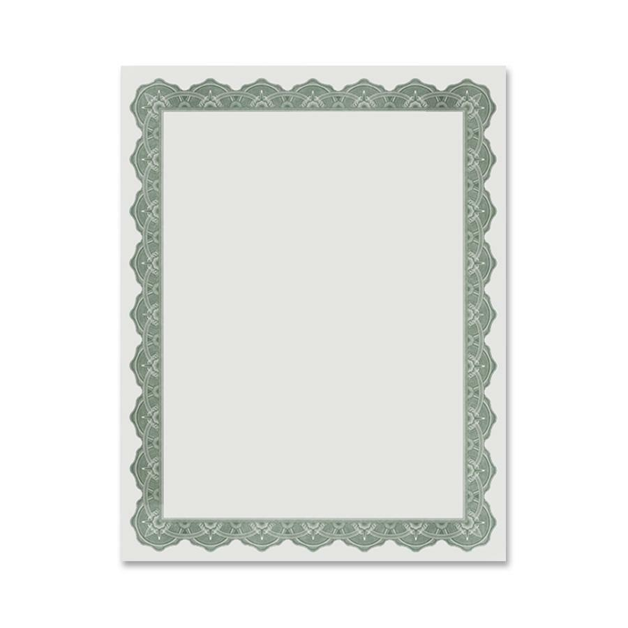 """Geographics Blank Award Parchment Certificates - 24 lb - 8.5"""" x 11"""" - Inkjet, Laser Compatible - Green with Green Border - Parchment Paper - 25 / Pack. Picture 1"""