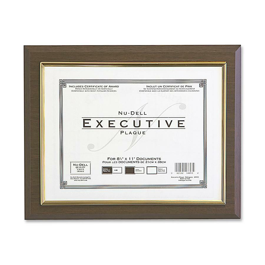 """NuDell Insertable Executive Award Plaque - 13"""" x 10.50"""" Frame Size - Holds 11"""" x 8.50"""" Insert - Horizontal, Vertical - Hanger - 1 Each - Plastic - Gold, Walnut. Picture 1"""
