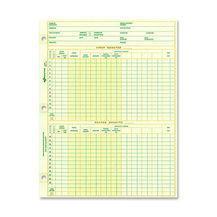 rediform national payroll filler sheets 8 1 2 x 10 7 8 sheet