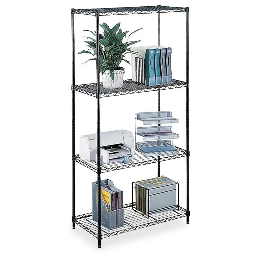 """Safco Commercial Wire Shelving - 48"""" x 18"""" x 72"""" - 4 x Shelf(ves) - 500 lb Load Capacity - Leveling Glide - Black - Powder Coated - Steel - Assembly Required. Picture 1"""