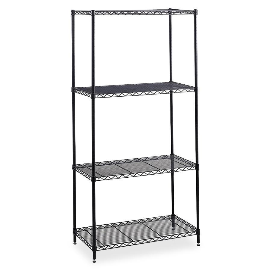 """Safco Industrial Wire Shelving - 36"""" x 24"""" - 4 x Shelf(ves) - 2500 lb Load Capacity - Leveling Glide, Dust Proof, Adjustable Shelf, Durable - Black - Powder Coated - Steel - Assembly Required. Picture 2"""