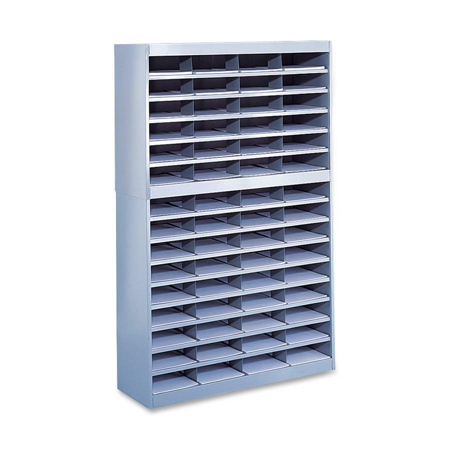"""Safco E-Z Stor Steel Literature Organizers - 750 x Sheet - 60 Compartment(s) - Compartment Size 3"""" x 9"""" x 12.25"""" - 60"""" Height x 37.5"""" Width x 12.8"""" Depth - 50% - Gray - Steel, Fiberboard - 1 Each. Picture 1"""